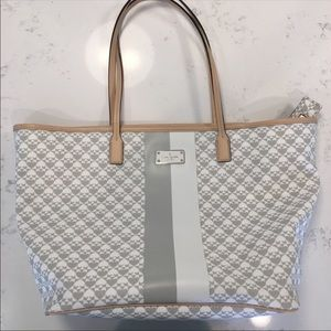 Kate Spade white and grey coated tote and wallet
